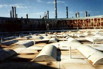 Many Pontoons Above The Membrane Of Single Deck Floating Roof